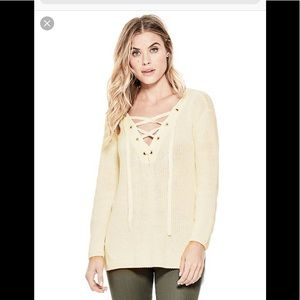 Guess cable knit lace up sweater